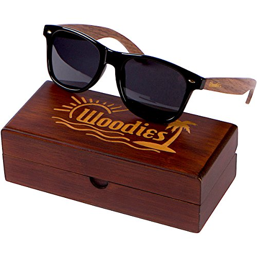 WOODIES Walnut Wood Wayfarer Sunglasses with Wood Display Box for Men or - Men Sunglasses Buy For