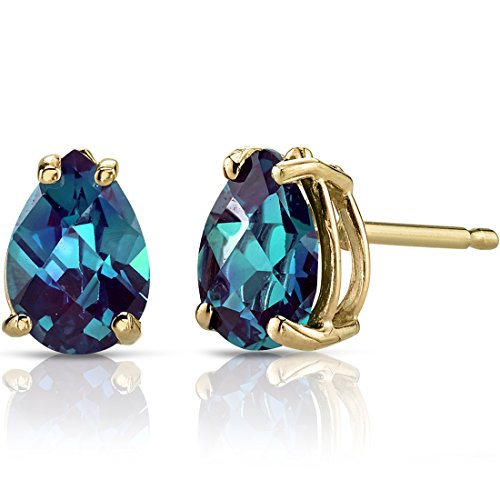(14K Yellow Gold Pear Shape 1.75 Carats Created Alexandrite Stud Earrings)
