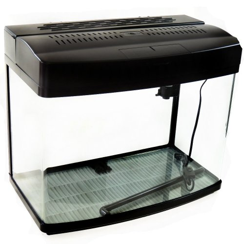 Black Satin 17 Gallon fish tank Aquarium (Complete Set Up with Filter and Light)