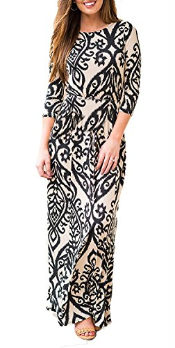BLUETIME Women's Maxi Dress 3/4 Sleeve Empire Waist Floral Print Casual Tunic Long Dresses with Pockets (02 Khaki, M) -