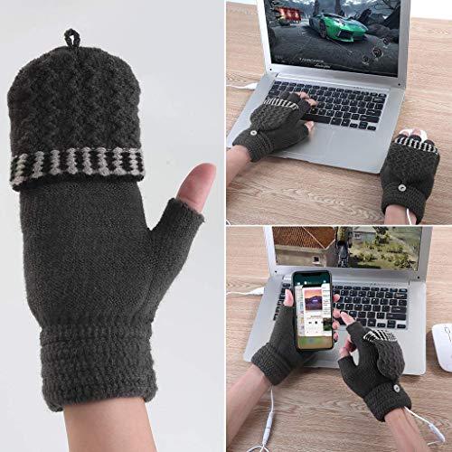 USB Heating Winter Gloves, Iusun Women Hand Warm Gloves Heated Fingerless Warmer Mitten (Dark gray) ()
