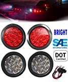 2 Red + 2 White 4'' Round Led Stop Turn Tail Back-up Reverse Fog Lights Include Lights Grommet Plug for Truck Trailer RV