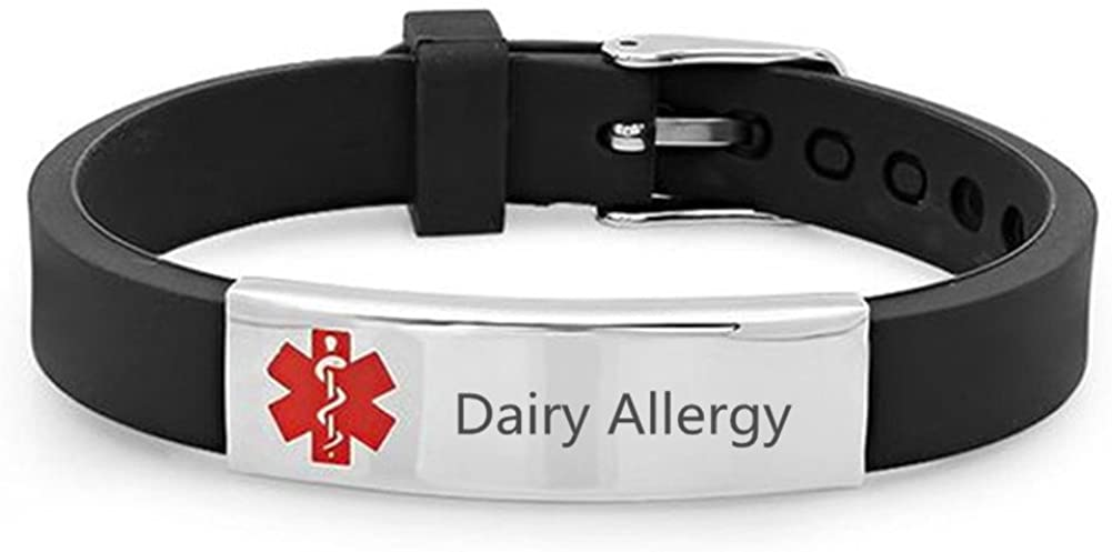 Sunling Custom Adjustable Silicon Medical Alert Allergy Awareness Bracelet for Women Men Kids,Free Engraving Emergency ID Bangle for Son,Daughter,Parents