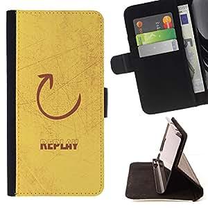 Momo Phone Case / Flip Funda de Cuero Case Cover - Replay Cita sesión Slogan Arte Flecha Dibujo - Huawei Ascend P8 (Not for P8 Lite)