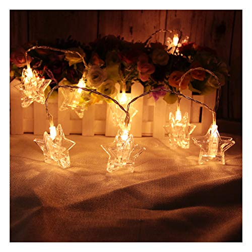 MINGXUAN Star Photo Clips String Lights 3 AA Battery Powered Low Consumption 14.76ft 30 Bulbs Warm White Color Decorate The Wall Table Pergolas with CE EMC Certificate]()
