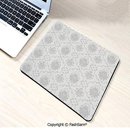 Non-Slip Rubber Mouse Pads Classic Victorian Floral Patterns Tulips Nostalgic Romantic Modern in Vintage Bohemian Style for Computers Laptop ()