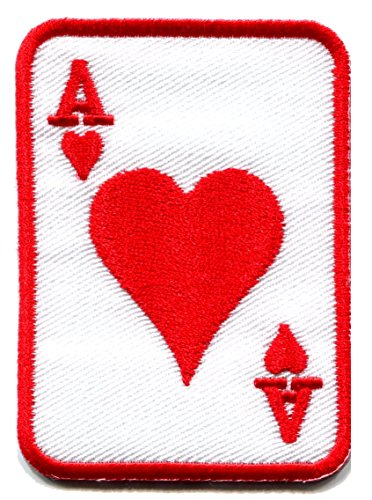 Ace of Hearts red suit playing card poker retro casino biker rat pack applique iron-on patch - Card Patch
