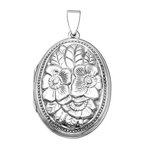 Sterling Silver Embossed Floral Design Locket Pendant