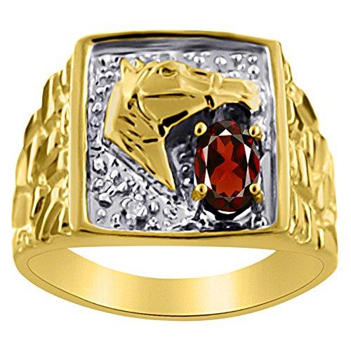 Diamond & Garnet Ring 14K Yellow or 14K White Gold Lucky Horse Head
