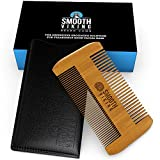 Beard and Mustache Comb for Men - Facial Hair Grooming Tool - Made With Fine Tooth Sandalwood for Easy Styling & Maintenance - Dual Action Design + Pocket & Wallet Size for Travel - Smooth Viking
