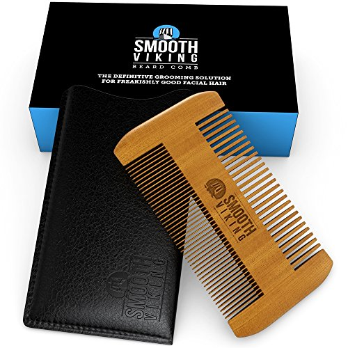 Beard and Mustache Comb for Men – Facial Hair Grooming Tool – Made With Fine Tooth Sandalwood for Easy Styling  Maintenance – Dual Action Design + Po…