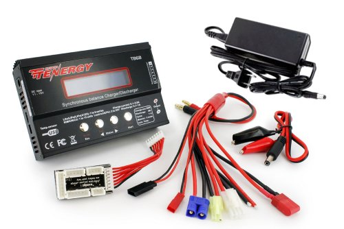 Tenergy TB6-B Balance Charger Discharger 1S-6S Digital Battery Pack Charger for NiMH/NiCD/Li-PO/Li-Fe Packs w/ LCD Display Hobby Battery Charger w/ Tamiya/JST/EC3/HiTec/Deans Connectors + Power Supply ()