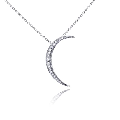 Amazon sterling silver crescent moon cz stone pendant necklace sterling silver crescent moon cz stone pendant necklace aloadofball Image collections