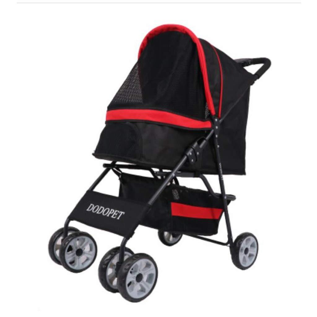 RED 4 wheelsDog wheelchair Pet Lightweight Universal Fold Small Medium Stroller Extended Canopy Large Storage Basket,3 Wheels 4 Wheels (color   RED, Size   4 wheels)