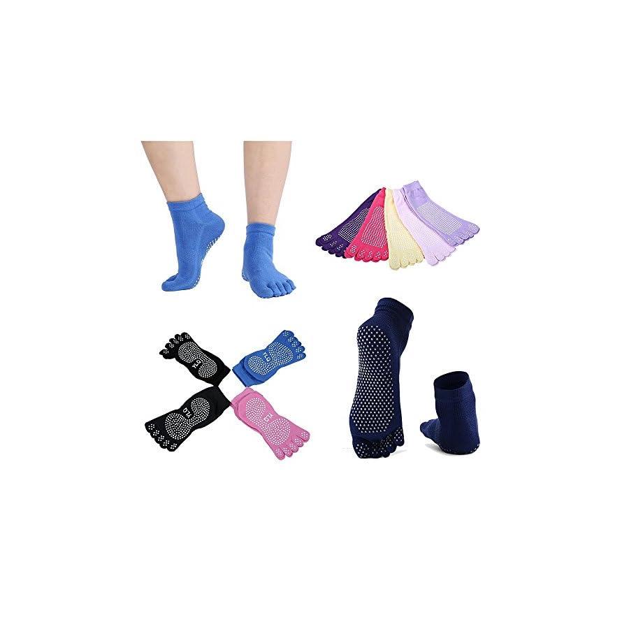 LayOPO Yoga Starter Kit 7 Piece Essentials Beginners Bundle Include Yoga Towel,Yoga Blocks,Yoga Strap,Stretch Band,Yoga Sock,Yoga Head Band,Spring Cable,Purple