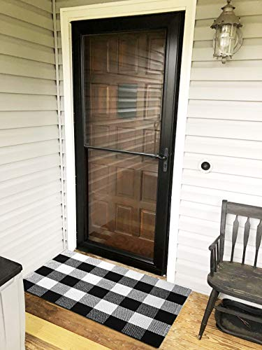 Ukeler Farmhouse Door Mat- Black and White Plaid Kitchen Rug 2'×4.3'- Machine Washable Buffalo Check Rug for Laundry Room/Bedroom/Living Room (Porch Area)