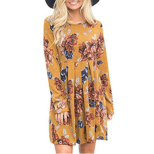 Women Floral Print Long Sleeve Dresses Ladies Super Soft Comfy Dress Knee Length Boho Dress Casual Swing Pleated Dress (Large, Yellow)