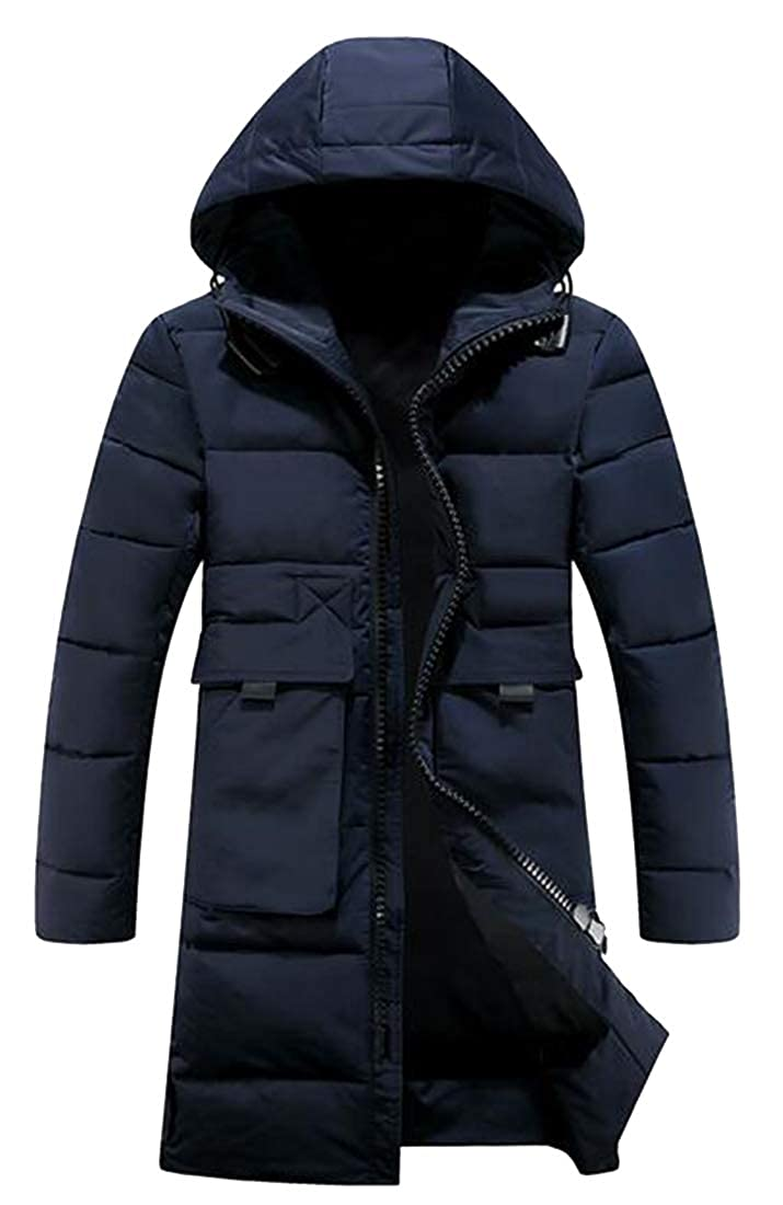 XTX Mens Full Zip Thermal Winter Hooded Thicken Long Down Puffer Coat Quilted Jacket Overcoat