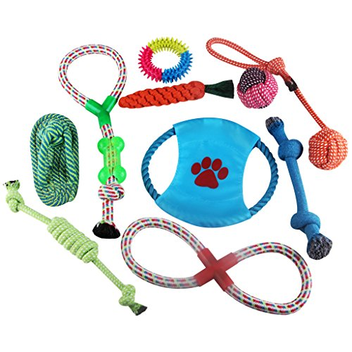 Cotton Tug Ring - Dog Chew Toy Rope, IFOYO 10 Pack Dog Rope Toy Ball and Tug Rope for Small and Medium Dogs Durable Cotton Dog Chew Rope for Aggressive Chewers