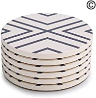 Lifver 6-Piece Absorbent Stone Coaster Set,Drink Spills Coasters, Grey-Lines