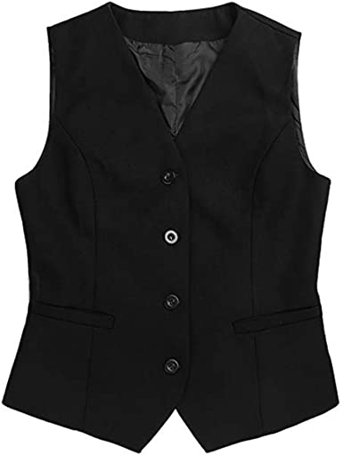 Women Regular Waistcoat Gilet Jacket Coat Sleeveless Outwear Short Vest Workwear