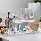 NEX Dish Drainer 304 Stainless Steel Kitchen 2-Tier Dish Rack with Utensil Holder