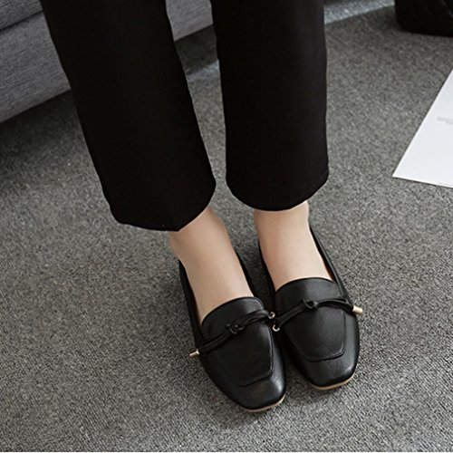 Giy Femmes Classiques Penny Mocassins Slip-on Casual Bas Plat Bout Rond Confort Robe Rétro Oxford Chaussures Noir