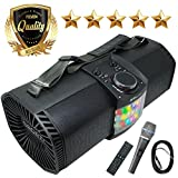EMB Bluetooth Boombox Street Disco Stereo Speaker - 3600mAH Rechargeable Battery Portable Wireless 300 Watts Power FM Radio/MP3 Player w/Remote and Disco Lights w/EMB Microphone (Black)