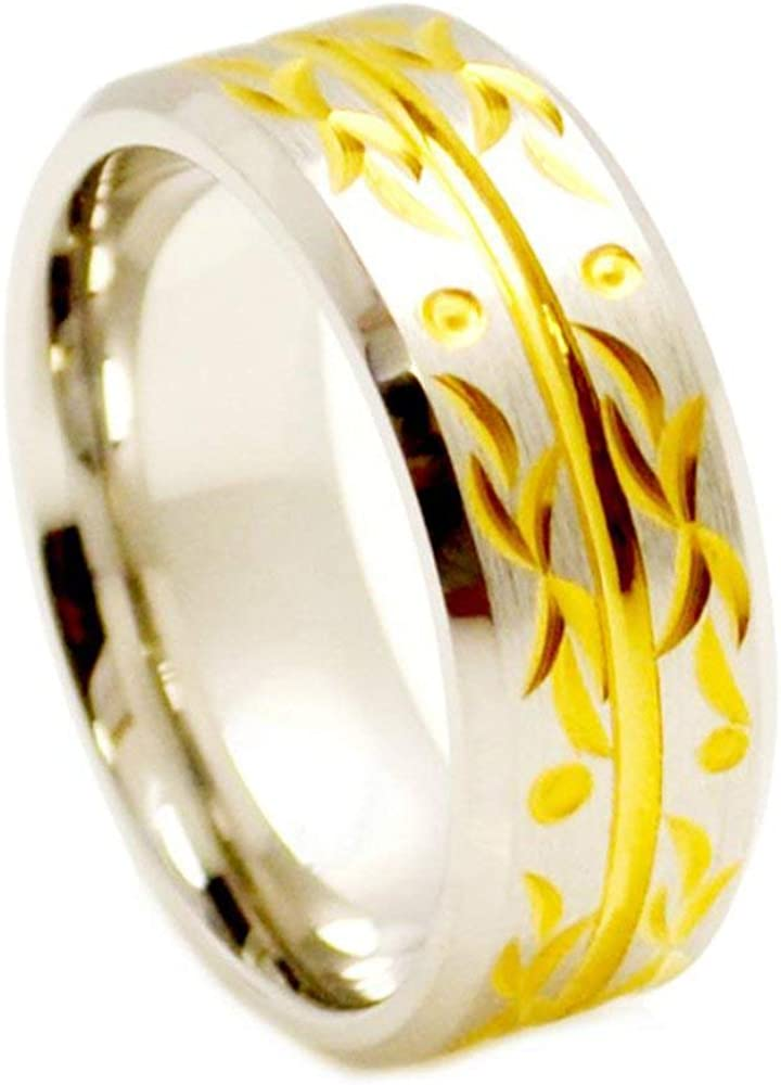Free Engraving 8mm Cobalt Chrome Wedding Band Ring Beveled Edge Grooved Center Yellow Gold Plated Carved Flourish Design