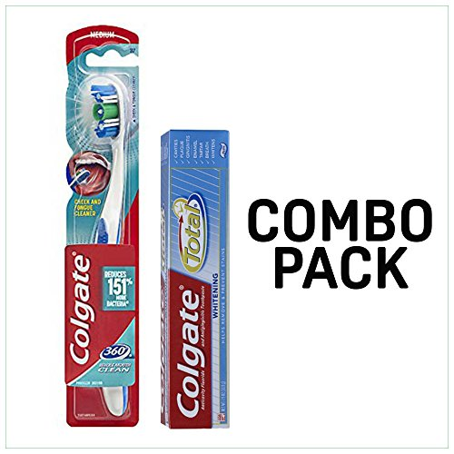 Colgate 360 Whole Mouth Clean Toothbrush Medium With Colgate Total Whitening Toothpaste 1.9 oz Combo Pack (Green Toothbrush) Fights cavities, gingivitis, plaque, tartar and strengthen the enamel