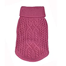 EraseSIZE Pet Dog Winter Knitted Jumper Puppy Acrylic Sweater, Comfortable Soft and Warm Apparel from Size XS - M, Suitable Clothes for Small Medium Large Dogs Cats (XS, Hot Pink)