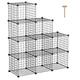 C&AHOME Metal Wire Cube Storage, 9-Cube Storage Organizer, Stackable Storage Bins, Modular Bookcase, DIY Closet Cabinet Ideal for Living Room Bedroom, Home, Office 36.6'L x 12.4'W x 48.4'H Black
