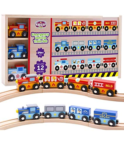 Wooden Train Set 12pcs, Magnetic Railway for Kids Ages 2-3 -4 and up, Works with All Major Brands of Trains, with Wood Box and Cover