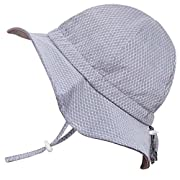 Cute Baby Girl Boy Cotton Sun Hat 50 UPF, Adjustable Good Fit, Stay-On Tie (S: 0-9m, Floppy Hat: Grey Tiny Argyle)