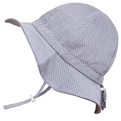 Alsatian Girl (Cute Baby Girl Boy Cotton Sun Hat 50 UPF, Adjustable Good Fit, Stay-On Tie (S: 0-9m, Floppy Hat: Grey Tiny Argyle))