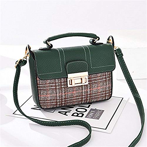 Moontang Borsa a tracolla Borsa a tracolla Messenger (Colore : Brown Plaid, Dimensione : -) Army Green Lattice