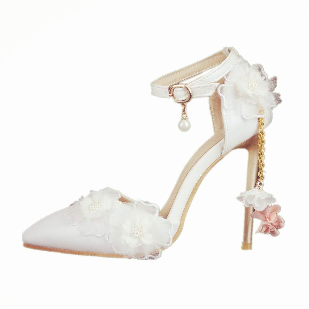 Damen Brautschuhe Pumps Abendschuhe Hochzeitsschuhe Hochzeit Schuhe Sandalen Knöchelriemen Spitzschuh Stöckelschuhe Weiß
