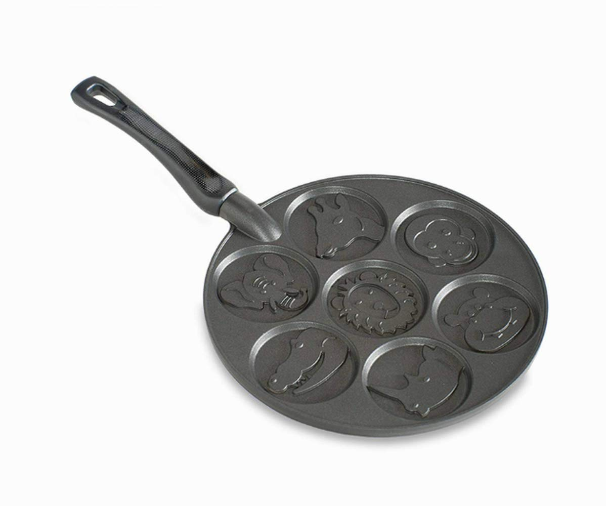 Mini Pancake Pan Non-Stick, Premium Quality, Black Color, 7 Different Animals, Pancake For Kids, Zoo Animals, Breakfast Maker, Perfect For Parties, Uniform-Baked Pancakes & E-Book Home Decor