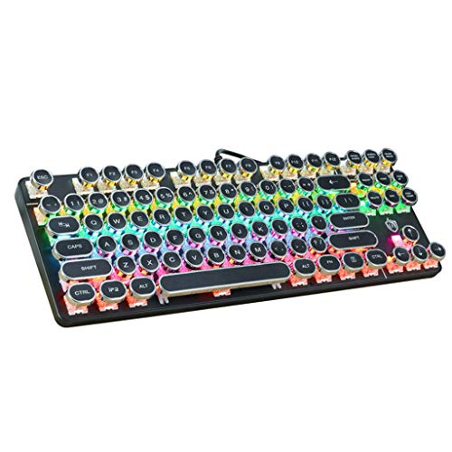 (Harpi Metal Frosted Punk LED Backlit Gaming Keyboard 87 Keys Mechanical Green Shaft Wired Keyboard Gamer Laptop (Black))
