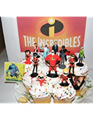Disney Incredibles Movie Cake Toppers Cupcake Decorations Set of 14 with 12 Figures, Pixar Sticker, IncrediblesRing featuring New and Original Characters and Villians!