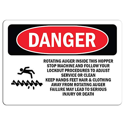 (Danger Sign - Rotating Auger Inside This Hopper | Label Decal Sticker Retail Store Sign Sticks to Any Surface 8