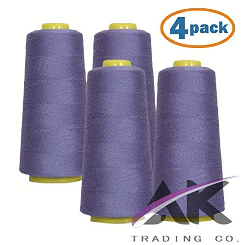 AK Trading 4-Pack Periwinkle All Purpose Sewing Thread Cones (6000 Yards Each) of High Tensile 40S/2 Polyester Thread Spools for Sewing, Quilting, Serger Machines, Overlock, Merrow & Hand ()