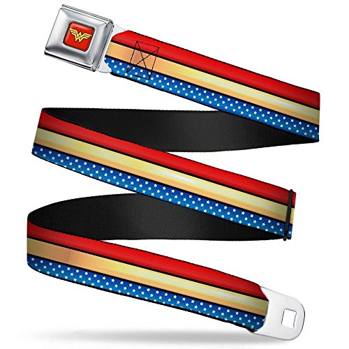(Wonder Woman Logo Full Color Red Seatbelt Belt - Wonder Woman Stripe/Stars Red/Gold/Blue/White Webbing X-LARGE)