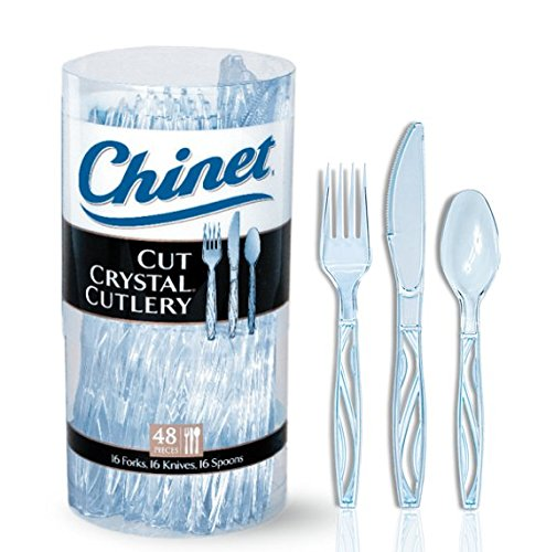 Chinet Cut Crystal Cutlery Combo Pack, 48 Count