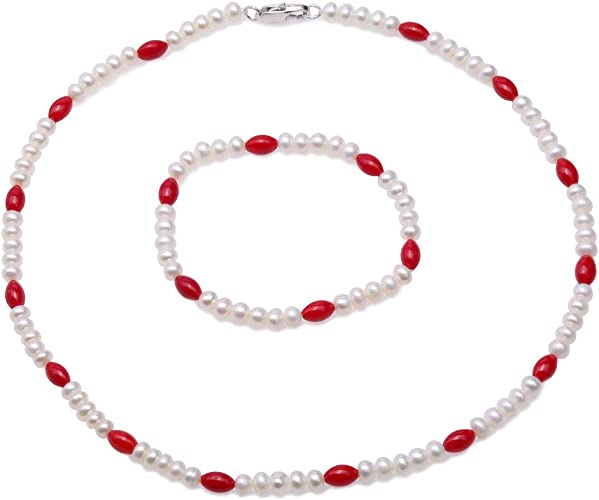 fashion white pearl natural red coral necklace earrings set 18inch