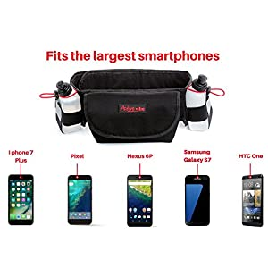 Hydration Running Belt With Two BPA-Free Water Bottles Included by Active Vibe   Fits iPhone 6 Plus, iPhone 7 Plus  Easily Adjustable 