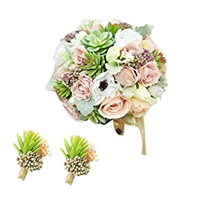 Yokoke Wedding Bridal Bridesmaid Bouquet Wedding Holding Flower Artificial Peony Rose Green Succulent Berry for Wedding Church Party Home Decor 69