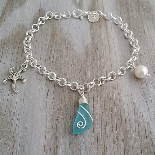 Handmade in Hawaii, wire wrapped blue sea glass bracelet, starfish charm, Freshwater pearl, (Hawaii Gift Wrapped, Customizable Gift Message)