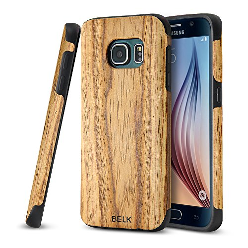 Galaxy S7 Case, BELK [Air To Beat] Non Slip [Slim Matte] Wood Tactile Grip Rubber Bumper [Ultra Light] Soft TPU Back Cover, Premium Smooth Wooden Shell for Samsung Galaxy S7 - 5.1 inch, Teak