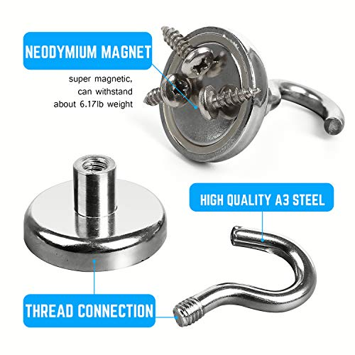 Magnetic Hooks Powerful Neodymium Magnet 3 Hook Set Great for Your Refrigerator and Other Magnetic Surfaces (Diameter : 2.95-INCH-7.5 cm) by BaikoubaoweiLr (Image #1)